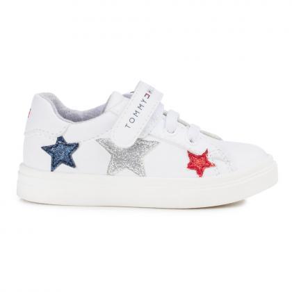 Tommy Hilfiger Sneaker mit Glitzer und Klett - weiß