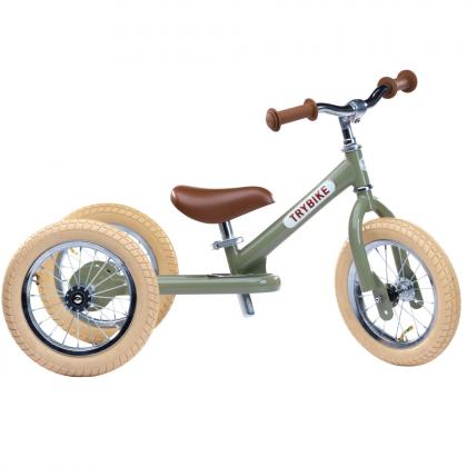 TRYBIKE steel 2 in 1 balance bike - vintage green