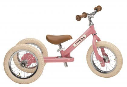 TRYBIKE steel 2 in 1 balance bike - vintage pink