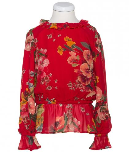 Twin Set longsleeve St. Fiori with volants - red