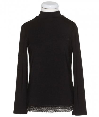 Twin Set Shirt mit Strass und Spitze - schwarz