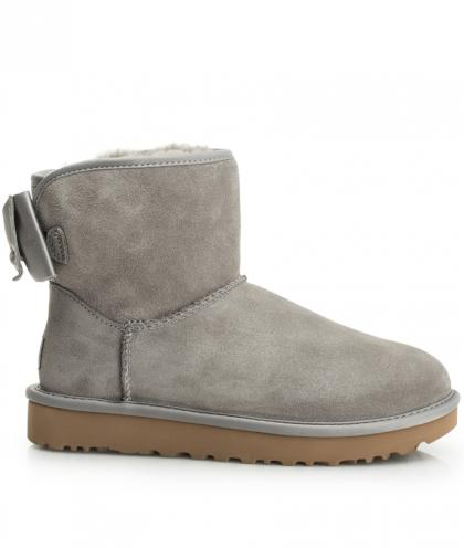 UGG Mini Satin Bow in hellgrau
