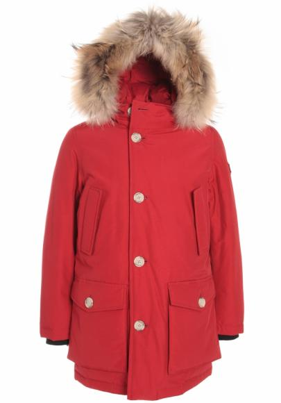 Woolrich kids jacket Arctic Parka with real fur in red