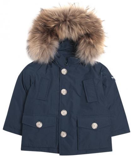 Woolrich Baby Luxury Arctic Daunenparka mit Echtfell in midnight blue