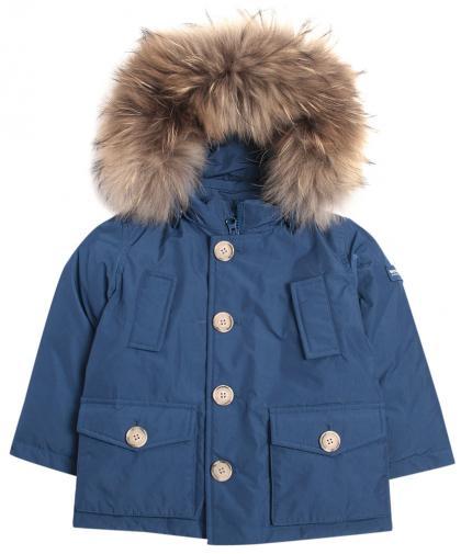 Woolrich Baby Luxury Arctic Daunenparka mit Echtfell in royalblau
