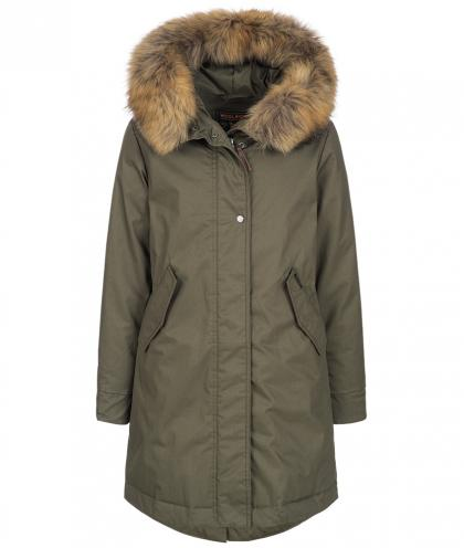 Woolrich Cascade Parka Military mit Echtfell in olive