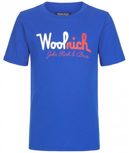 Woolrich Shirt mit Logo Print in kobold blau