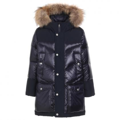 Woolrich Logo Arctic Parka DF with real fur and material mix - midnight blue