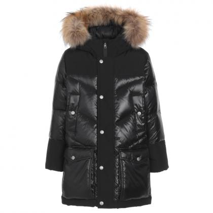Woolrich Logo Arctic Parka DF with real fur and material mix - black