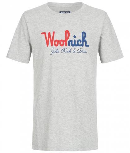 Woolrich Shirt mit Logo Print in hellgrau meliert