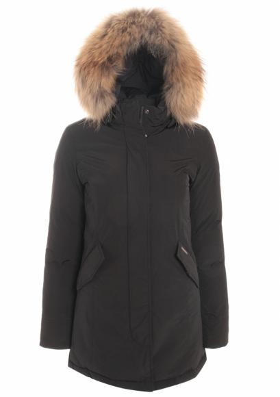 Woolrich Luxury Arctic Parka Girl with real fur in black