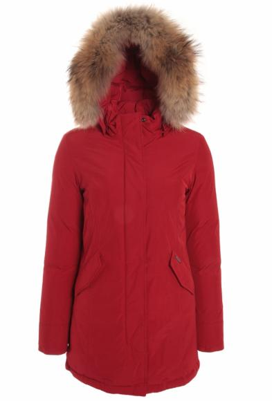Woolrich Luxury Arctic Parka Girl mit Echtfell in rot