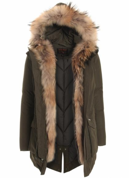 Woolrich Military Parka mit Echtfell in dark green