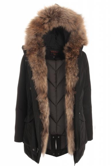 Woolrich Military Parka with real fur in black