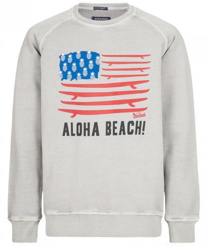 Woolrich Sweatshirt mit Print in hellgrau