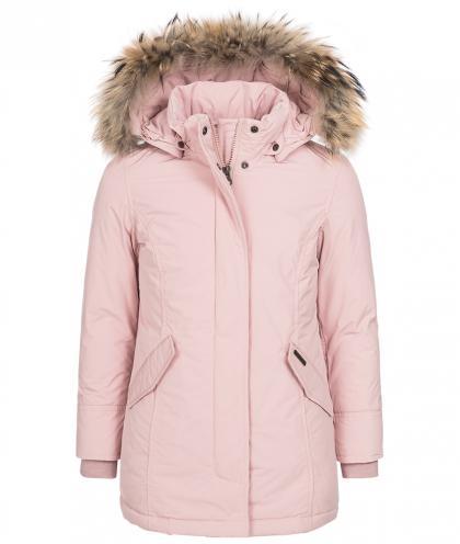 Woolrich Luxury Arctic Parka Girl mit Echtfell in hellrosa