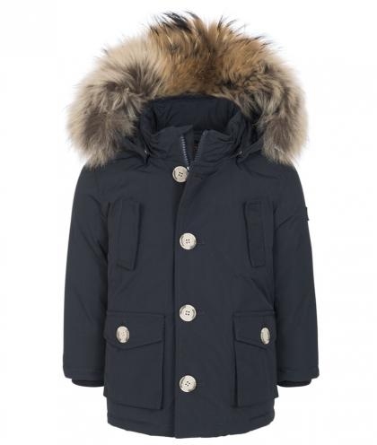 Woolrich baby Arctic parka with real fur in midnight blue