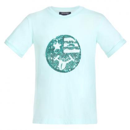 Woolrich Icon T-Shirt mit Pailletten - mint