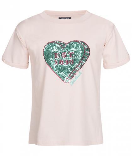 Woolrich Icon T-Shirt mit Pailletten - rosa