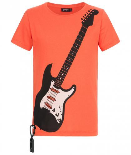Yporqué Sound- Shirt mit E-Gitarren Print in orangerot
