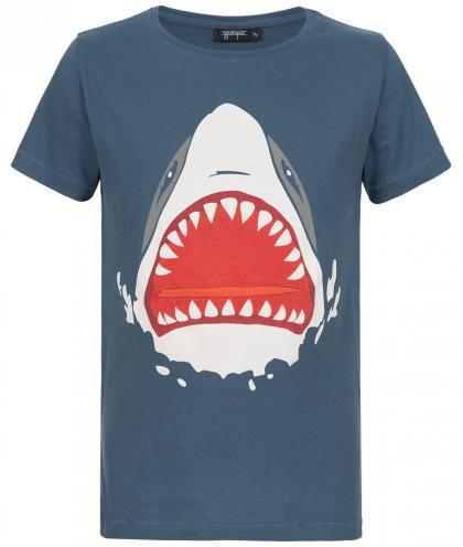 Yporqué Hai-Shirt mit herausziehbarer Zunge in navy