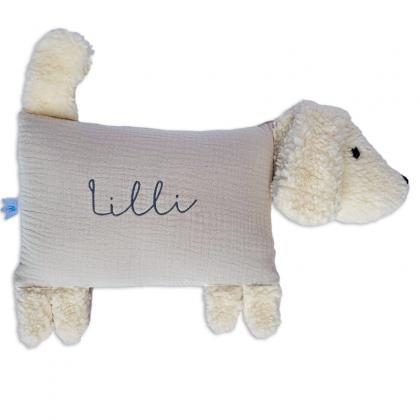 Kleine Freunde Kuschelkissen Hund Lotta, personalisierbar - beige