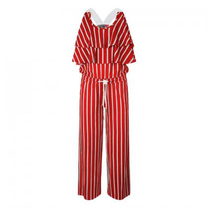 Retour jumpsuit Maria with flounce - red