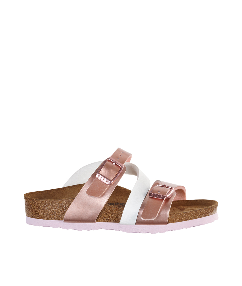 Birkenstock Sandale Salina Kids Soft Metallic in rosé-weiss