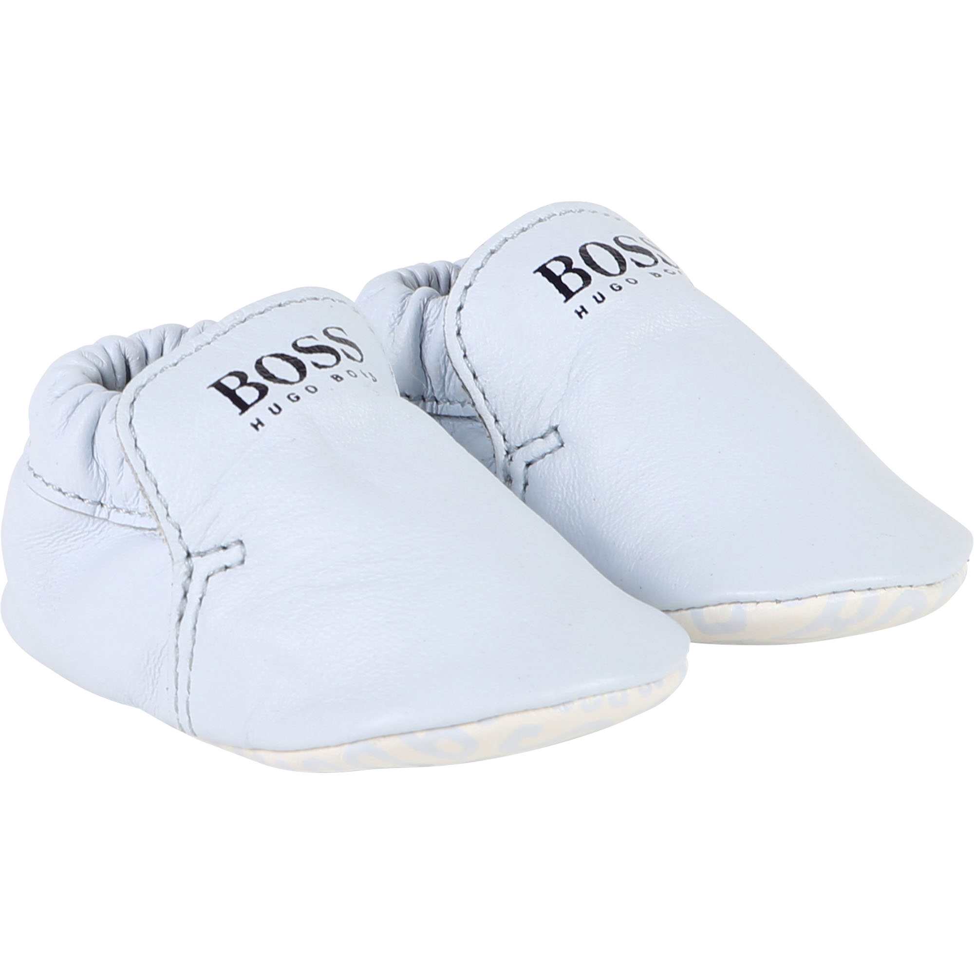 Hugo Boss baby shoes of leather in light-blue