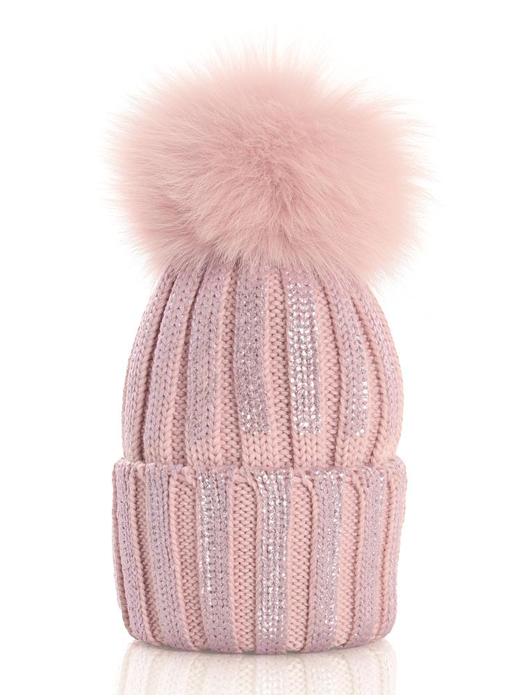 Catya Wollmütze im Metallik-Look mit Echtfell-Bommel in rosa