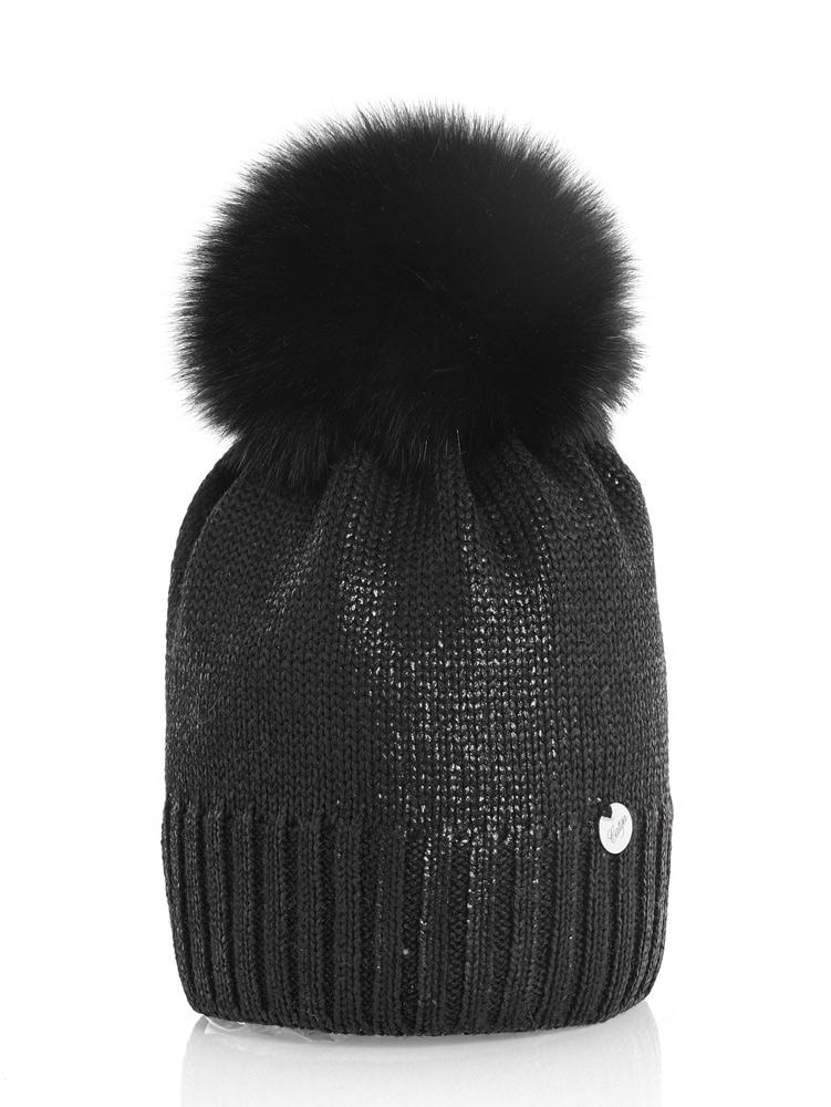 Catya Wollmütze im Metallik-Look mit Echtfell-Bommel in schwarz