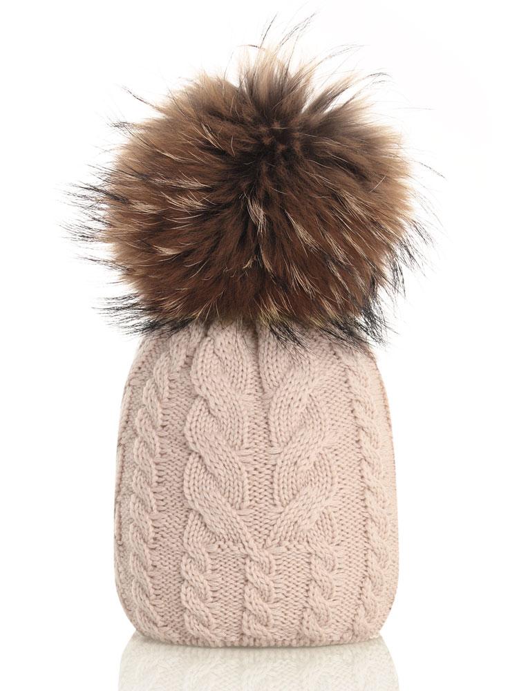 Catya Echtfellmütze mit Zopfmuster - beige