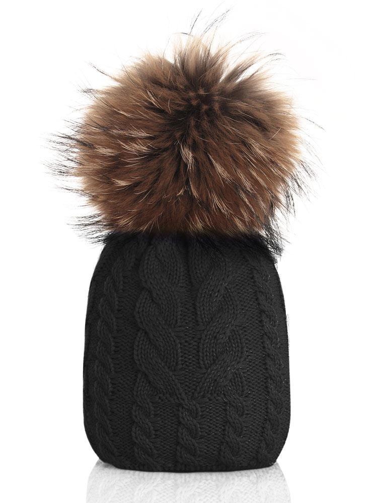 Catya Echtfellmütze mit Zopfmuster - schwarz