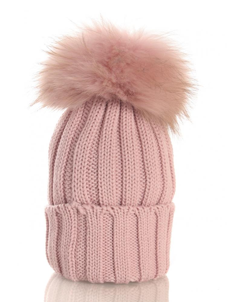Catya Mütze mit Echtfell-Bommel