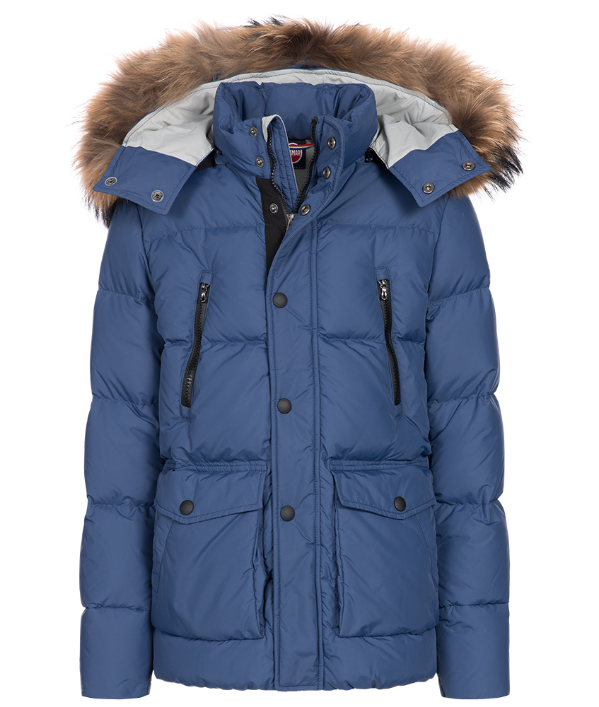 Colmar down jacket with real fur in blue