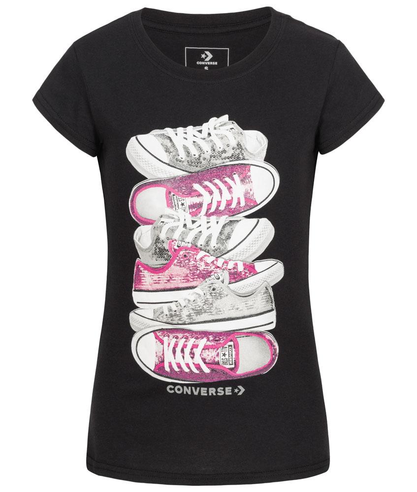 Converse Sequin Stacked T-Shirt mit Pailletten - schwarz