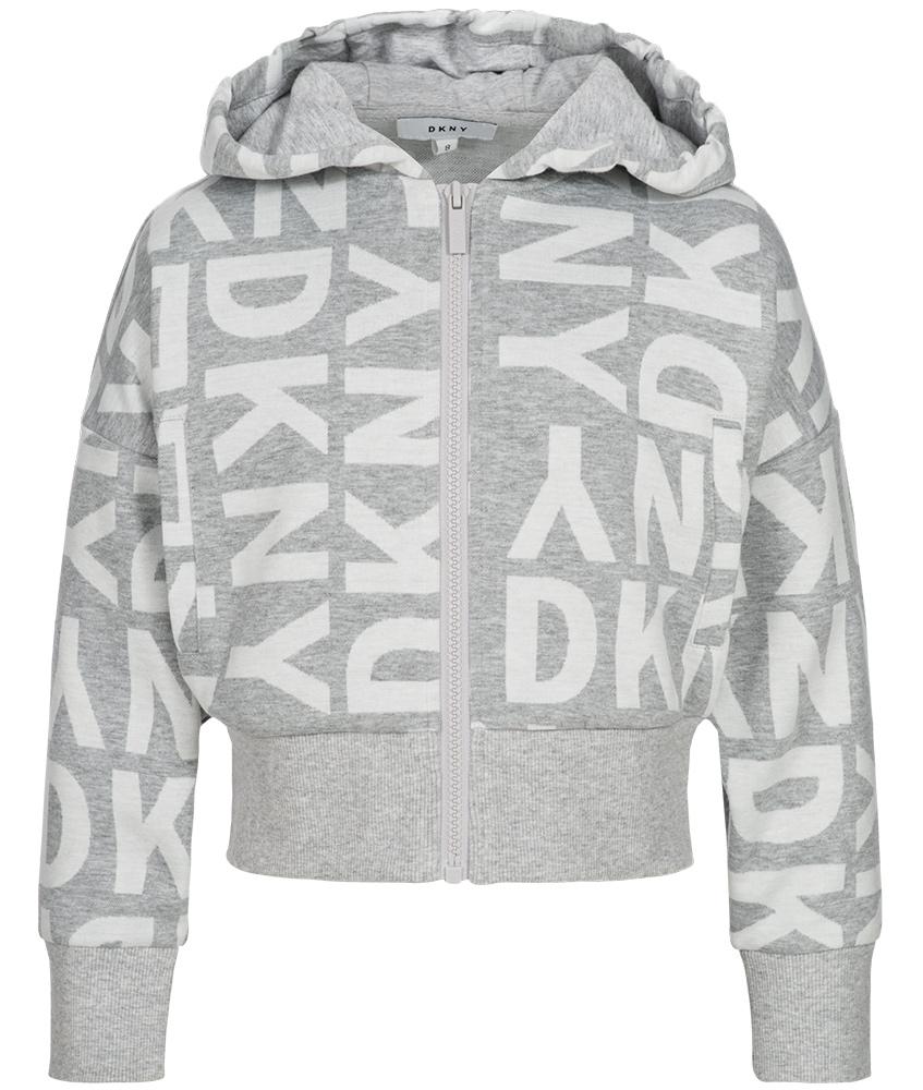 DKNY kurze Kapuzenjacke in grau-meliert