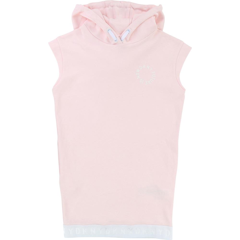 kids style lounge dkny langes kapuzen kleid in rosa kindermode online kaufen. Black Bedroom Furniture Sets. Home Design Ideas