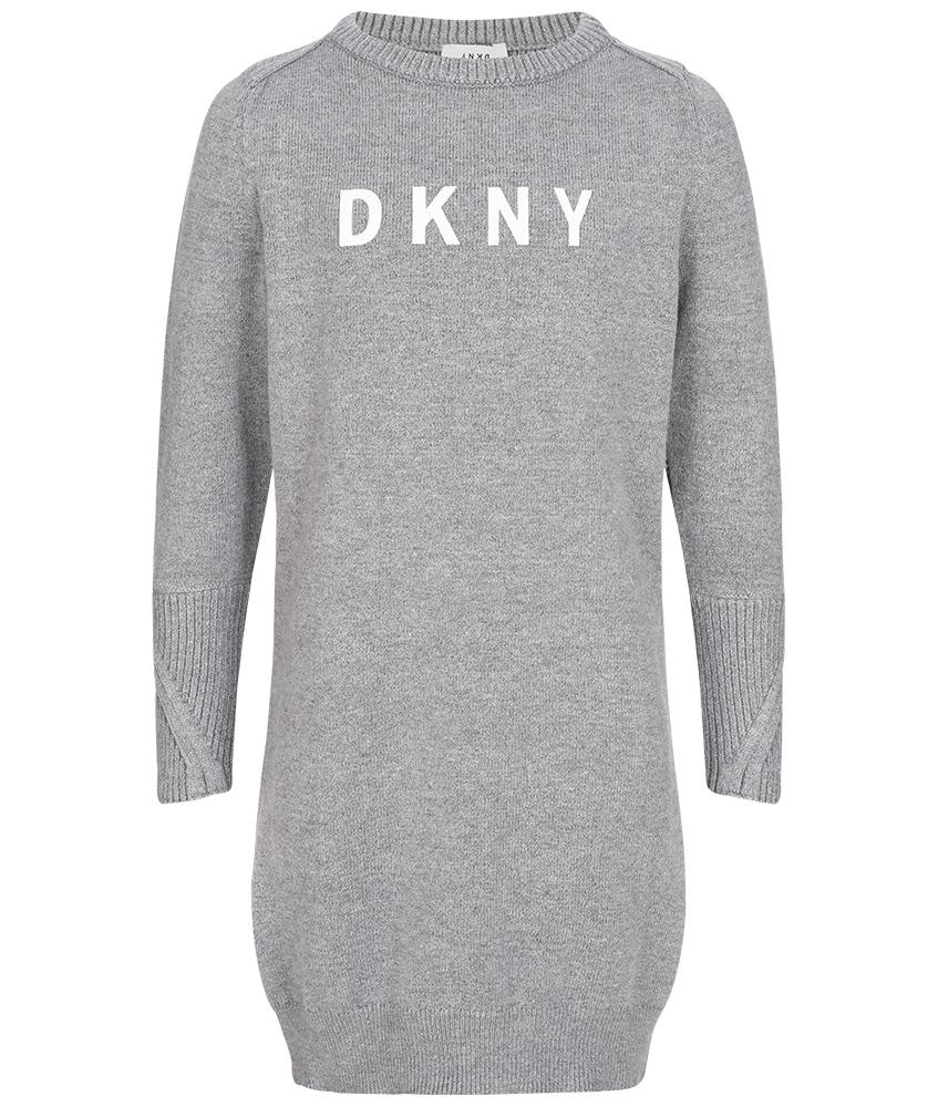 DKNY langes Strickkleid in grau-meliert