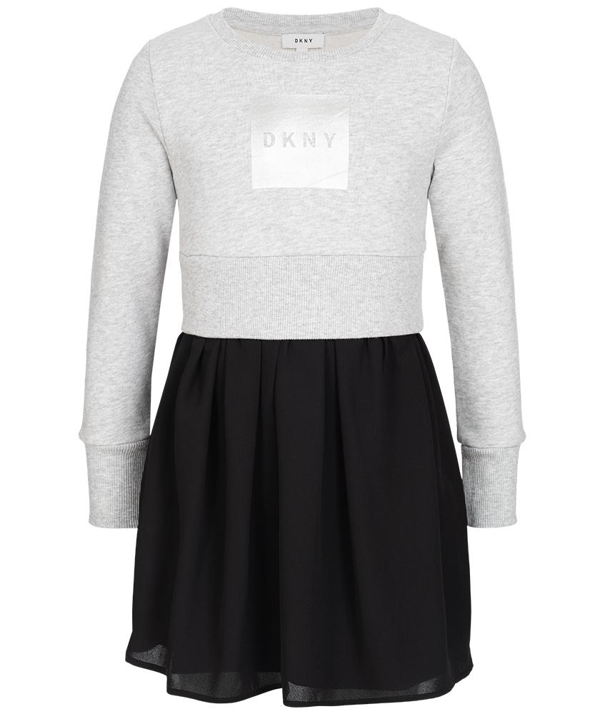 DKNY Kleid mit Tüll-Rock in grau-schwarz