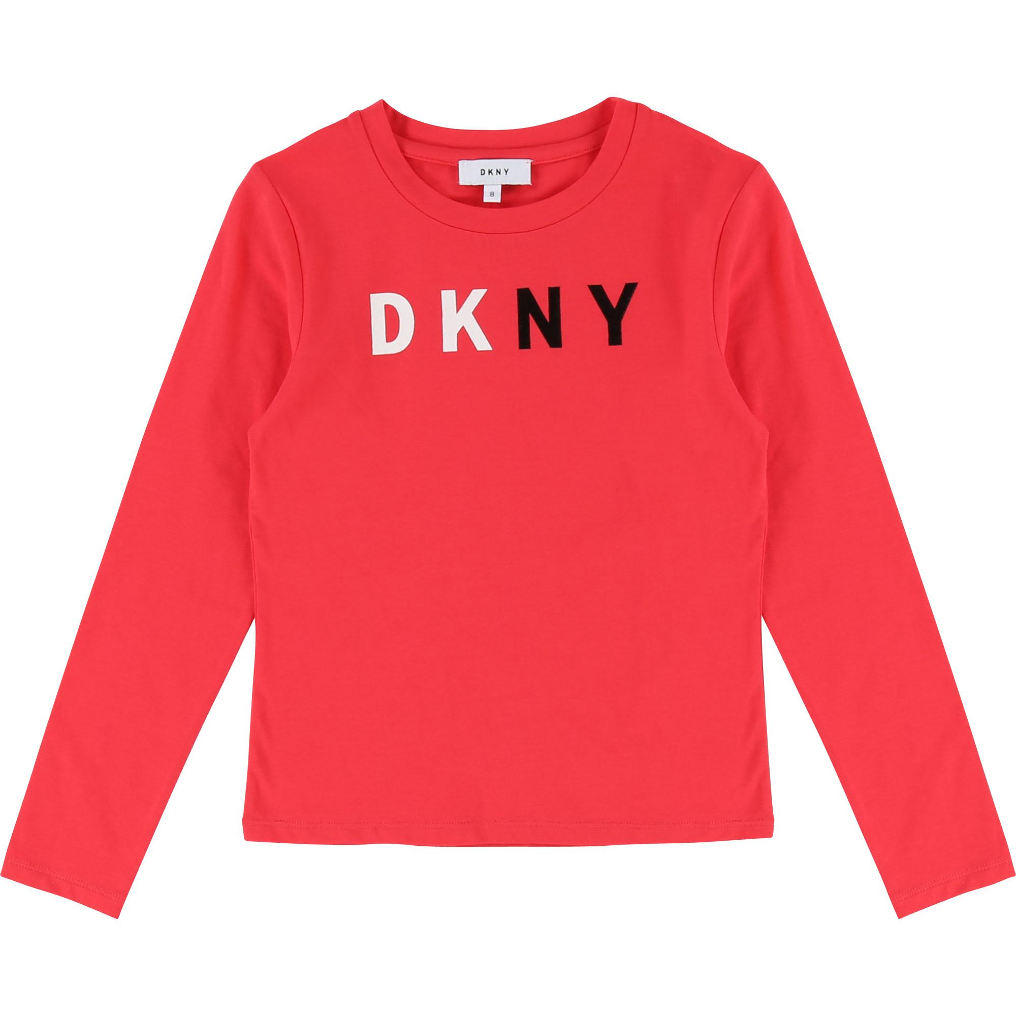DKNY Logo Langarmshirt in korall