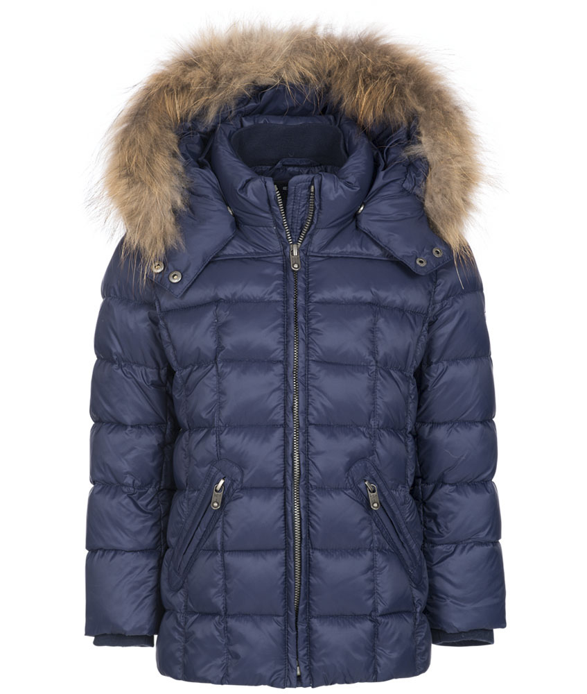 Eddie Pen Baby Baxter down jacket with real fur in navy