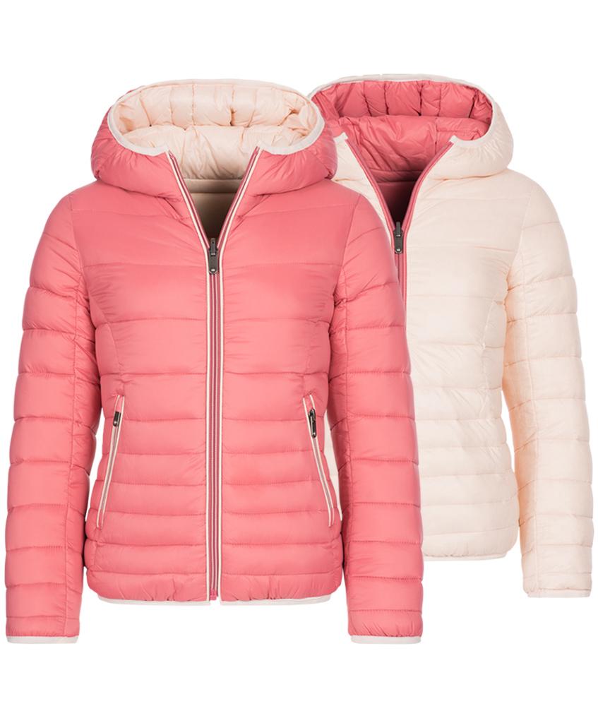 Eddie Pen Katja reversible down jacket in corall pink