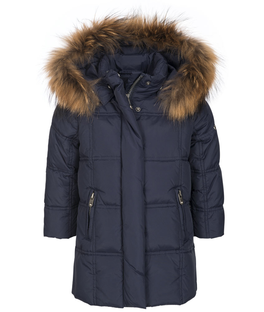 Eddie Pen Baby Paradise down parka with Fur in navy