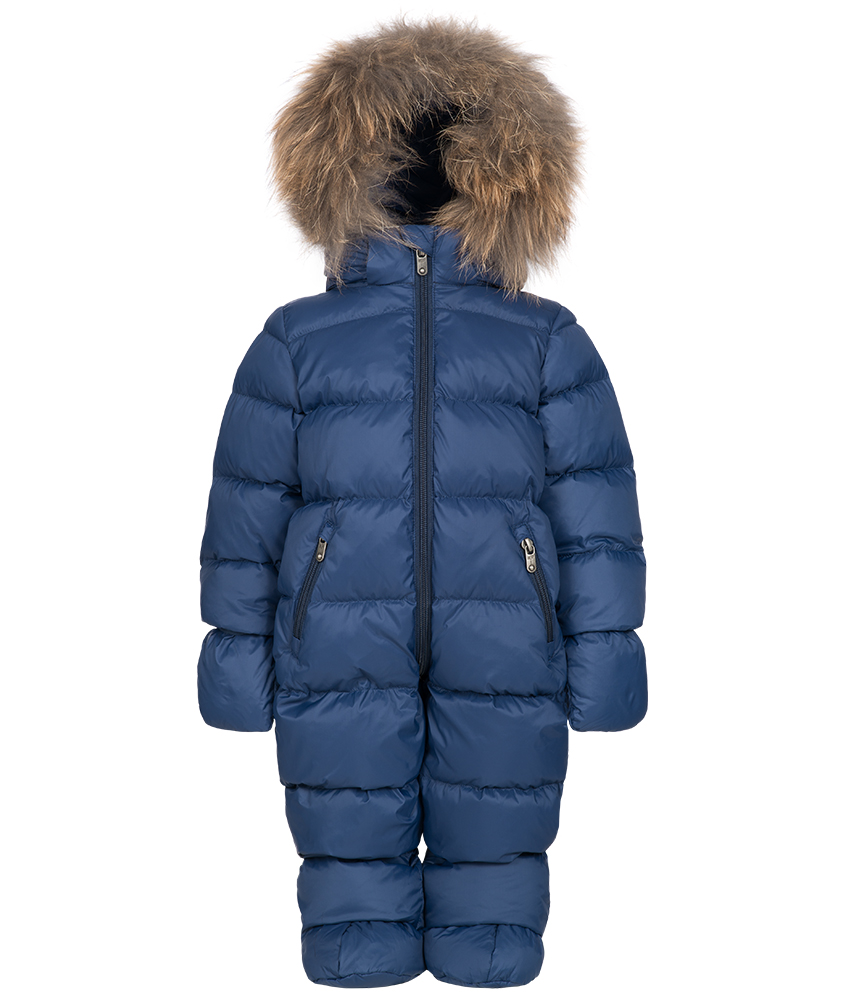 Eddie Pen Mellow baby snowsuit with real fur in navy