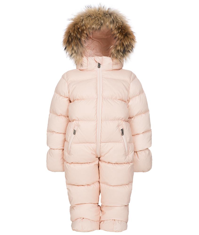 Eddie Pen Mellow baby snowsuit with real fur in rose