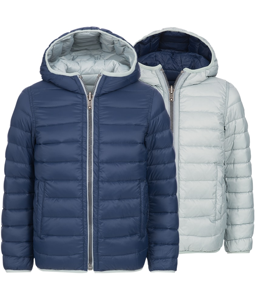 Eddie Pen Alaska baby reversible down jacket in navy
