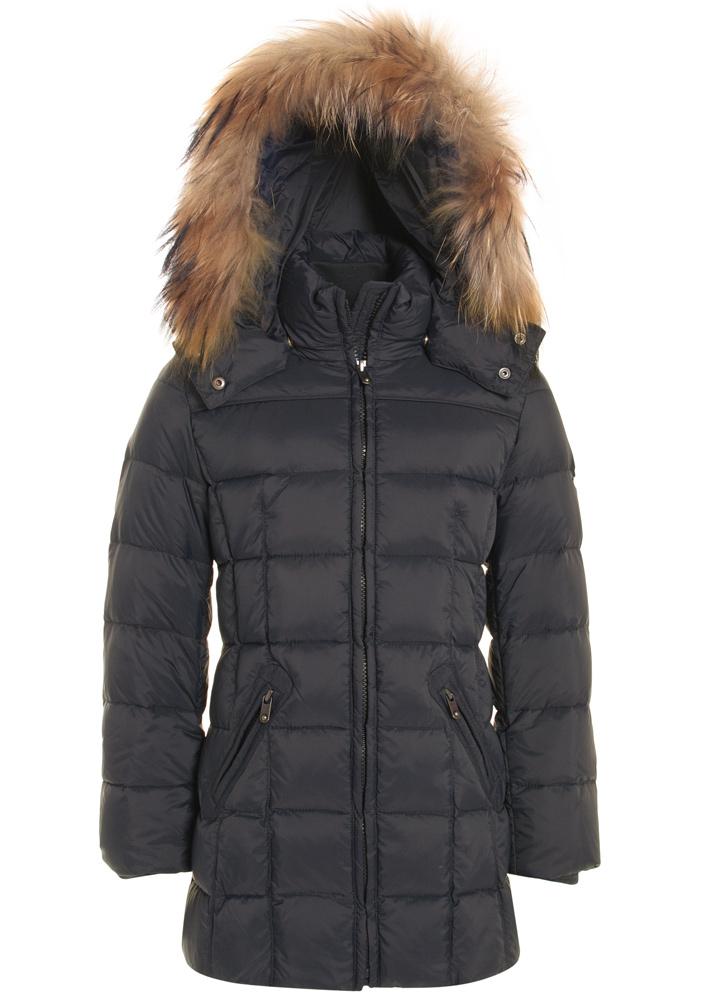 Eddie Pen Baxter down jacket with real fur in dark grey
