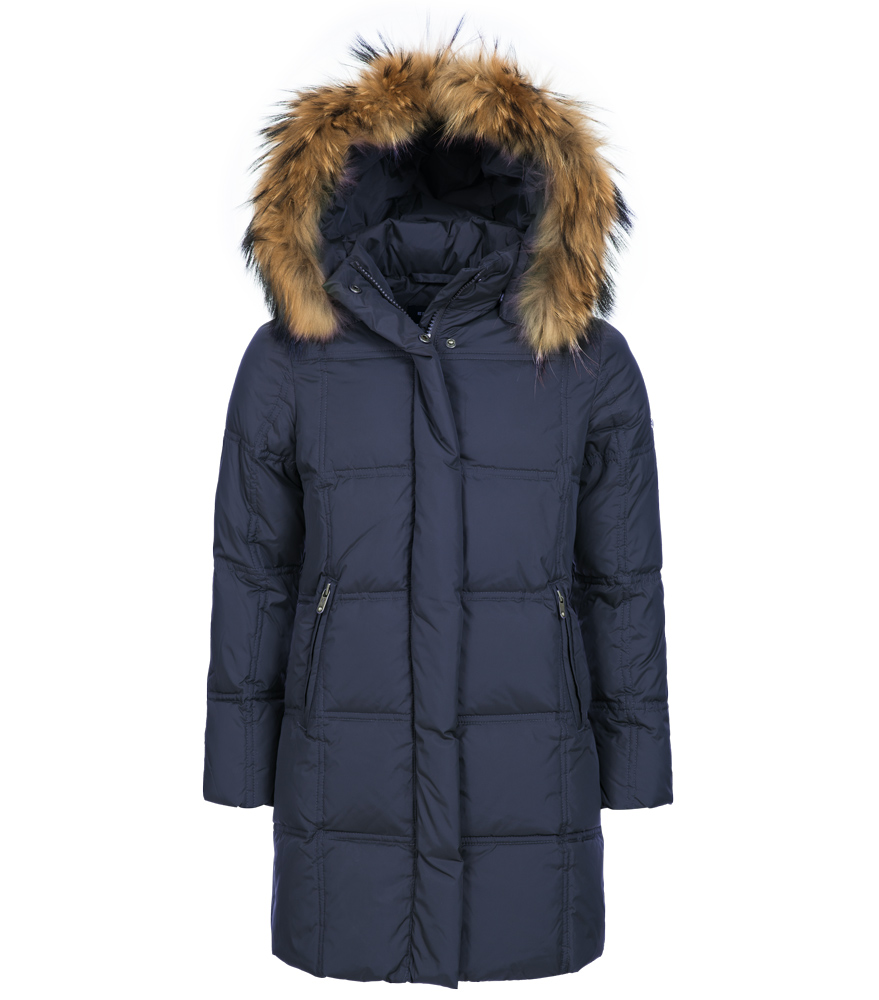 Eddie Pen Paradise down coat with real fur - navy