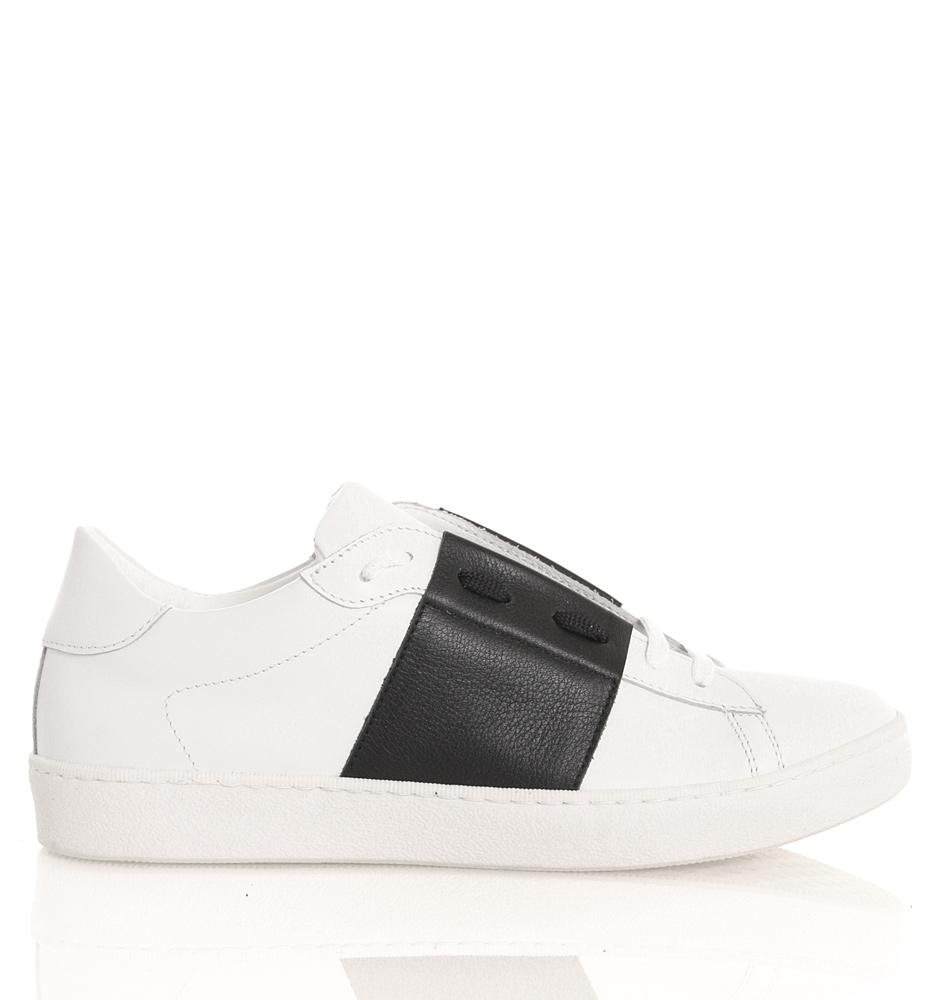 Florens Schnür-Sneakers aus Leder in schwarz-weiss